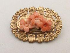 Art Deco 14k Gold Filled Brooch with Genuine Angel Skin Coral Flower Center #angelskincoral