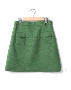 Vintage A-line Woolen Skirt Green