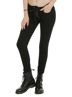 Judy Blue Black Lace-Up Front Skinny Jeans,