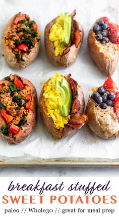 Sweet Potato Breakfast 3 Ways Change up your breakfast routine with this Breakfast Stuffed Sweet Potatoes! Three different options from chorizo and kale, egg and bacon, and nut butter and fruit. Perfect for. Gluten Free Breakfasts, Healthy Breakfast Recipes, Healthy Drinks, Healthy Snacks, Whole30 Breakfast Ideas, Healthy Filling Meals, Sweet Potato Recipes Healthy, Healthy Sides, Healthy Recipes