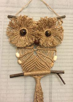 OWL #68 Macrame Wall Hanging, natural jute