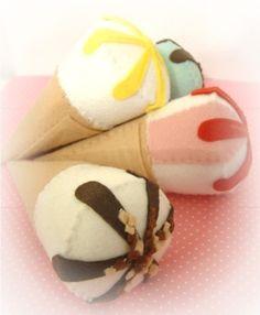 Items similar to felt food cake ice cream cornetto ornament on Etsy Felt Diy, Handmade Felt, Felt Cake, Felt Play Food, Pretend Food, Food Patterns, Felt Quiet Books, Homemade Toys, Food Crafts