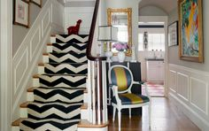 chair. runner. wall color.  lamp shade.  love it all