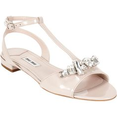 Miu Miu Crystal-detailed T-strap Sandals (€245) ❤ liked on Polyvore featuring shoes, sandals, heels, flat sandals, sapatos, open toe sandals, ankle strap flat sandals, crystal embellished sandals, nude heeled sandals and heeled sandals