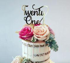 Twenty One Cake Topper - Gold Silver Copper Black Glitter - Twentyone - 21st Cake Topper - Happy 21st Birthday by DIYPartiesByRenee on Etsy https://www.etsy.com/au/listing/275554718/twenty-one-cake-topper-gold-silver