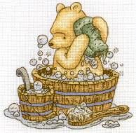 classic pooh bear in the tub <3