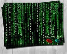 The Matrix Birthday Invitation  Digital Party by Printadorable