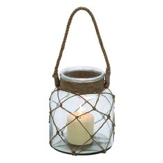 Glass Rope Candle Lantern, Brown