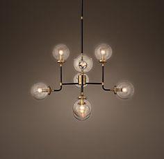 RH's Bistro Globe Milk Glass - Brass & Bronze: Dining room lighting