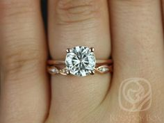 Skinny Alberta 8mm & Ember 14kt Rose Gold Round FB Moissanite and Diamond Wedding Set (Other metals and stone options available)