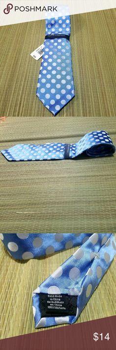 Perry Ellis lolly dot tie 100% silk Perry Ellis lolly dot tie 100% silk  Blue with white polka dots Perry Ellis Accessories Ties
