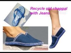 Recycle old jeans/denim & slippers/Chappal to make fabric boot ( waste material craft) - Reciclagem Old Jeans Recycle, Diy Old Jeans, Jean Crafts, Denim Crafts, Crochet Shoes, Crochet Slippers, Sewing Slippers, Craft From Waste Material, Denim Ideas