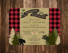 Lumberjack Woodland Invitation Birthday Baby by papernpeonies