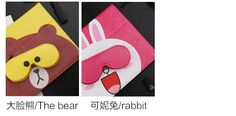 Case with cute pictures of bear amp rabbit with a pocket for headphones for Ipad Air 2, Ipad 4, Bear Pictures, Cute Pictures, Ipad Mini 3, Apple Ipad, Rabbit, Headphones, Pocket