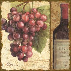 "Wine Bottle & grapes Art - ""Vino II"" by   Lisa Audit (Vintage Typography)"