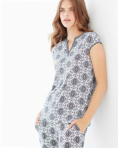 d0a4e115eb Soma Embraceable Cool Nights Pop Over Cap Sleeve Pajama Top Ornate Tile Geo  Ivory