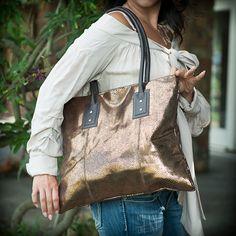 Leather foil finish purse
