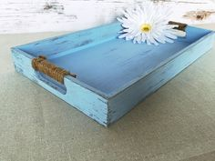 Wood tray - shabby chic decor - blue  - This lightweight wood tray has been painted a beautiful ocean blue color. It was designed in a