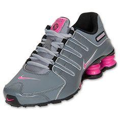 Girls' Grade School Nike Shox NZ Running Shoes| FinishLine.com | Cool Grey/Pink Foil/Black