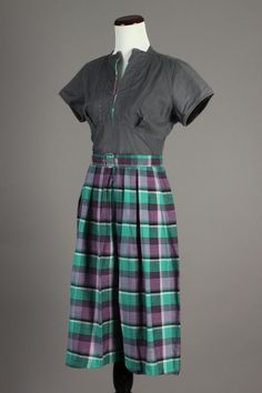 40s-50s VTG Purple & Green Plaid Day Dress with Grey Bodice. This dress has very sweet vintage accents! Size M - $60 via eBay