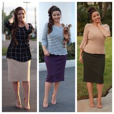 New colors in our Brooklyn skirt have arrived! (S-3XL) All tops available! #beige #plum #olive