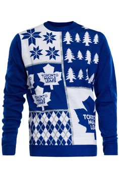 Score some points with the Leafs fan in your life, when you give him our Toronto Maple Leafs Ugly Christmas Sweater. Hockey Sweater, Ugly Sweater, Ugly Christmas Sweater, Toronto Maple Leafs, Maple Leafs Hockey, Hockey Quotes, Nhl, Logo Design, Blue And White