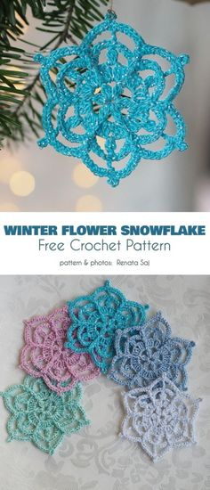 Collection of The Best Free Snowflake Crochet Patterns Winter Flower Snowflake Free Crochet Pattern if you like to make an exceptional Christmas gift, a set of lacy snowflakes will be a perfect choice to. Free Crochet Snowflake Patterns, Christmas Crochet Patterns, Crochet Motifs, Holiday Crochet, Crochet Snowflakes, Crochet Christmas Decorations, Crochet Decoration, Crochet Ornaments, Christmas Crafts