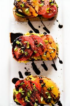 Avocado + Heirloom Tomato Toast with Balsamic Drizzle by Blissful Basil