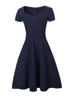 Baumwolle Polyester kurze Hülse Knielang Lässige Kleidung Kleider