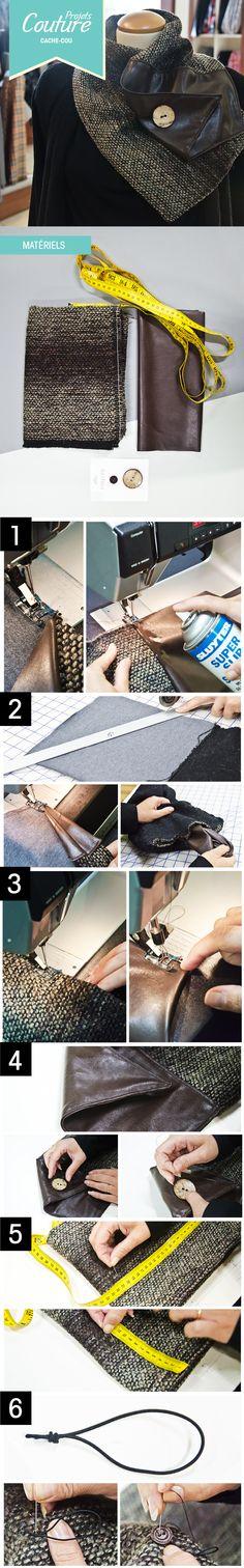 PAS À PAS: Avec le temps froid quoi de mieux qu'un joli cache-cou! :) #DIY #hiver #foulard http://clubtissus.com/articles-blog/articles-couture/projet-cache-cou