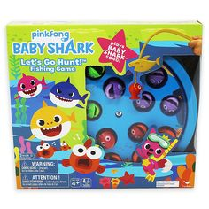 Baby Shark Spin Master Fishing Game - The entire family will love playing the Baby Shark Fishing Game from Spin Master. Grab onto the colorful fish with the Baby Shark-themed fishing rod as board spins, and the player who reels in the most wins. Shark Games For Kids, Win Free Stuff, Baby Shark Song, Toys R Us Canada, Go Game, Shark Party, Kids Board, Colorful Fish, Baby Games