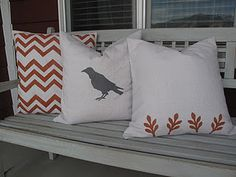 Simple DIY pillows using spray paint, freezer paper and canvas drop cloth.  Easy!