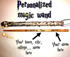 Magic Wand City Name Personalized. Custom Name Wand. Harry Potter Wizard Wands