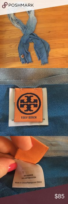 Tory Burch Scarf 🧣 Blue ombré Tory Burch scarf. Fringed edges. Never worn, excellent condition! Fabric:  50% silk/50% cotton, super soft! Tory Burch Accessories Scarves & Wraps