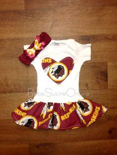 b365cb981 Washington Redskins Ruffle onesie with attached skirt Redskins Baby