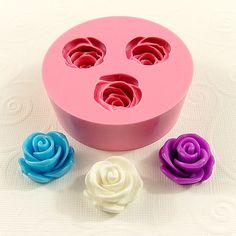 Large Cabochon Rose Flexible Mini Mold/Mould (1 inch) for Crafts, Jewelry, Scrapbooking (soap, resin, pmc, polymer clay) (182)
