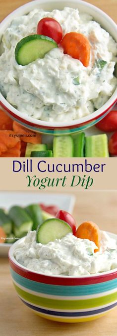 Creamy Dill Cucumber Yogurt Dip - a big hit at parties as an appetizer, or a great healthy snack for dipping veggies. Everyone will ask for this dip recipe. gluten free