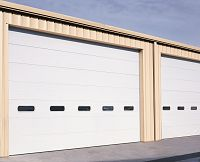 Three layer SANDWICH doors have an extremely high R-value and get their strength from bonding steel . Garage Door Replacement, Commercial Garage Doors, Garage Door Installation, Energy Efficiency, New Construction, Insulation, Service Design, Strength