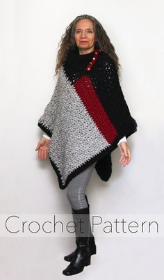 Baldwin Poncho Pattern No. 061  You will love the details such as the split cowl collar and decorative buttons on this warm chunky colour block poncho! It is quick to crochet using a large hook and super chunky yarn. The PDF PATTERN is available for instant download and includes written instructions, photos, diagrams, abbreviation keys, and tips to help you successfully create this project.   ~~~~~∞§§∞~~~~~⌘⌘⌘~~~~~⌘⌘⌘~~~~~⌘⌘⌘~~~~~∞§§∞~~~~~  This listing is for a PDF PATTERN ONLY and not the…