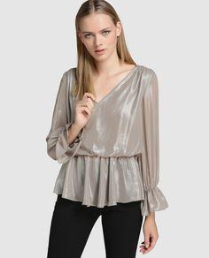 Blusa de mujer Amitié en color plata y escote de pico