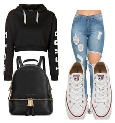 """""""Cool Casual outfit"""" by love680551 ❤ liked on Polyvore featuring Topshop, Converse, Michael Kors, women's clothing, women, female, woman, misses and juniors"""