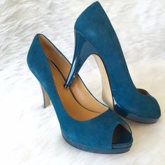 Nine West Teal Suede Peep Toe Pump So chic and perfect for a pop of color! Patent heel and platform detail. Excellent condition! Worn once. 4 inch heel. No Trades. TB1014. Nine West Shoes Heels