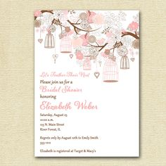 Vintage Birdcages and Flowers Bridal Shower Invitation - Pink and Brown - PRINTABLE INVITATION DESIGN by MommiesInk on Etsy https://www.etsy.com/listing/103497566/vintage-birdcages-and-flowers-bridal