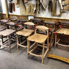 9 bar stools = 9 back rests getting glued up. #wood #woodshop #woodworking #finefurniture #finewoodworking #furniture #chair #stool #cdnww #barstool #walnut #cherry #haveaseat