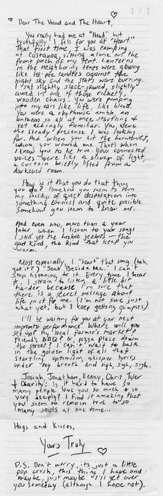 Dear The Head and The Heart