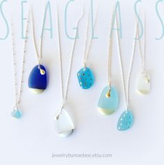 Handpainted #Seaglass necklaces from JewelryByMaeBee on #Etsy. #sfetsy www.jewelrybymaebee.etsy.com