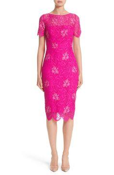 Lela Rose Floral Lace Sheath Dress