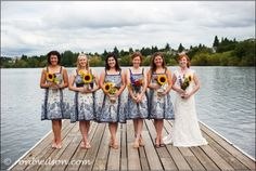 Lovelovelove this... sunflowers, asymmetry, floating dock!  I guess the fact that I know the bride also helps :)