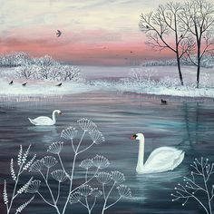 Print on paper of English landscape in winter with lake and swans from an original painting 'Winter Serenity' by Jo Grundy Monet Paintings, Landscape Paintings, Original Paintings, Framed Art Prints, Painting Prints, Winter Painting, Naive Art, Folk Art, Illustration Art