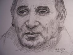 Charles Aznavour, a pencil drawing by Sirkka Jalava 2016